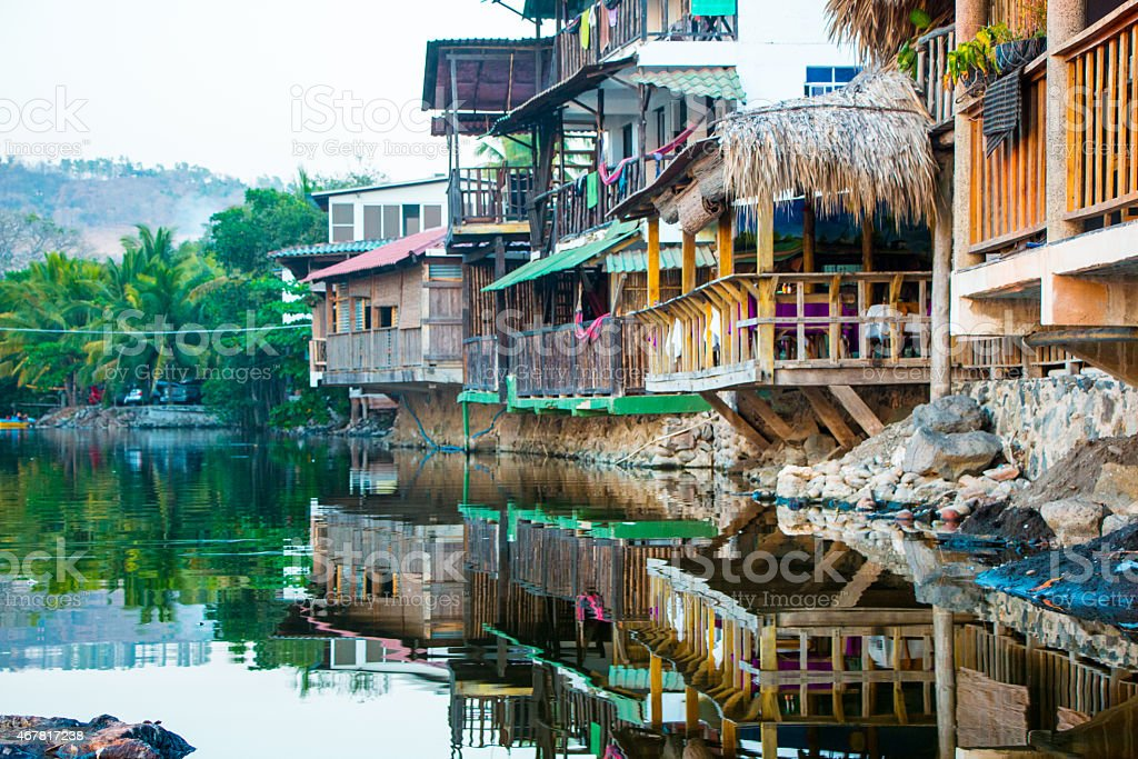 Wooden houses built over a salty lagoon stock photo