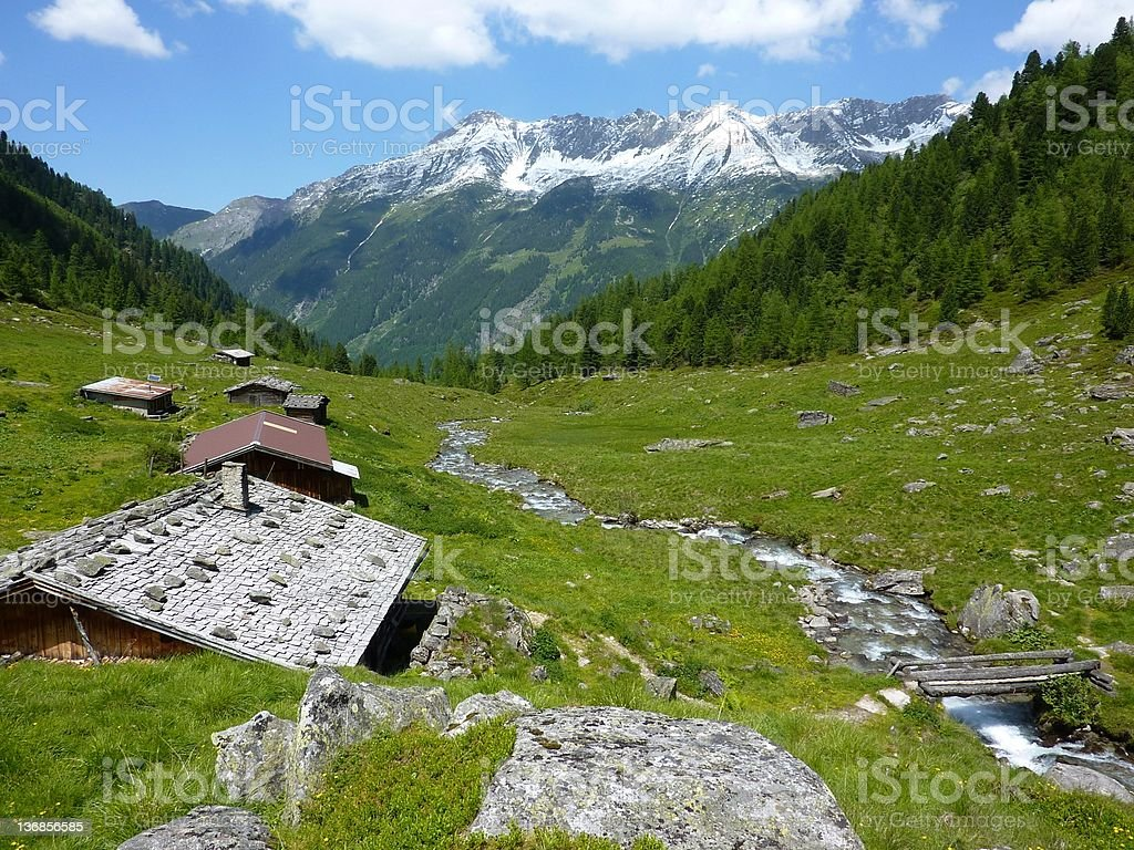 Wooden houses in the mountains royalty-free stock photo
