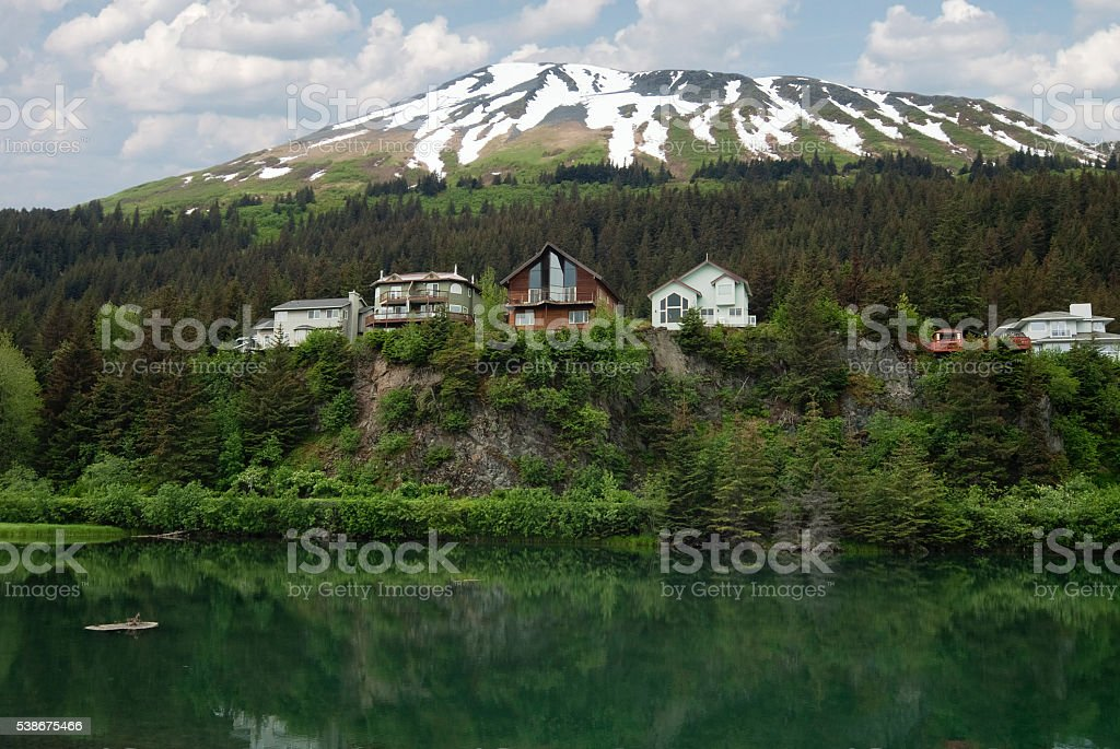 Wooden houses on Cliff View Place Looking Over The Lagoon stock photo