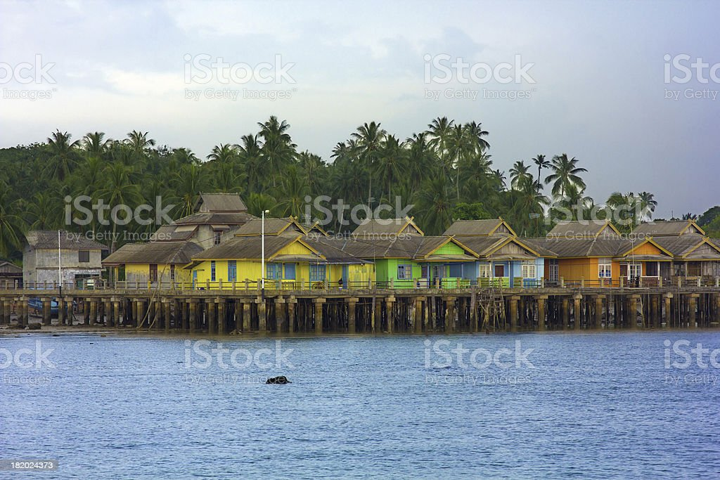 wooden houses, Penyengat island, indonesia stock photo