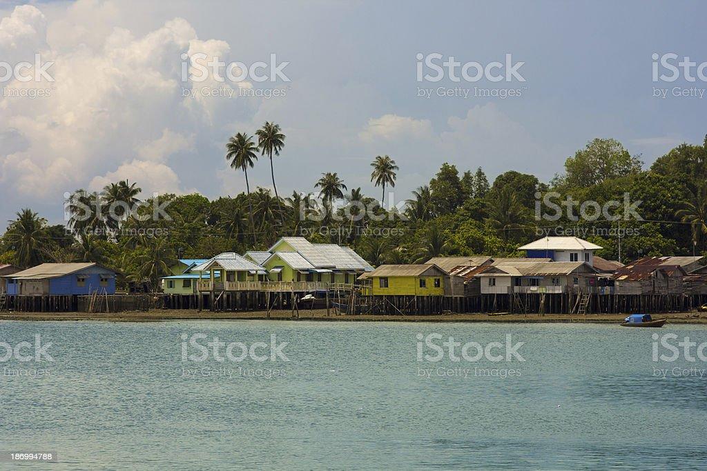 wooden houses, Penyengat island, indonesia stock photo