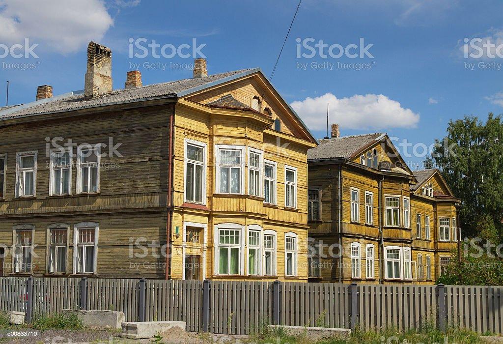 Wooden houses. stock photo