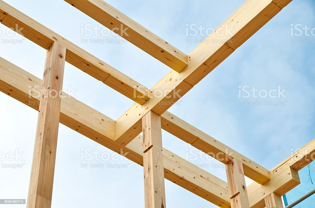 wooden housing construction in Japan stock photo