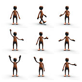 Wooden human figure standing in different poses.