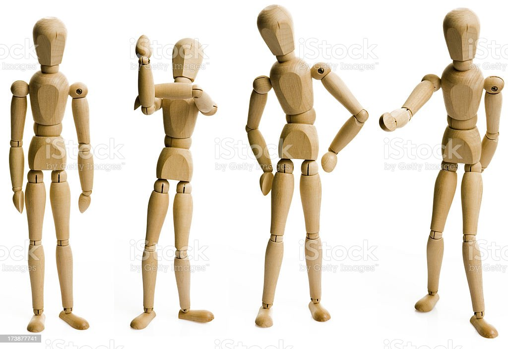 wooden human like dolls stock photo