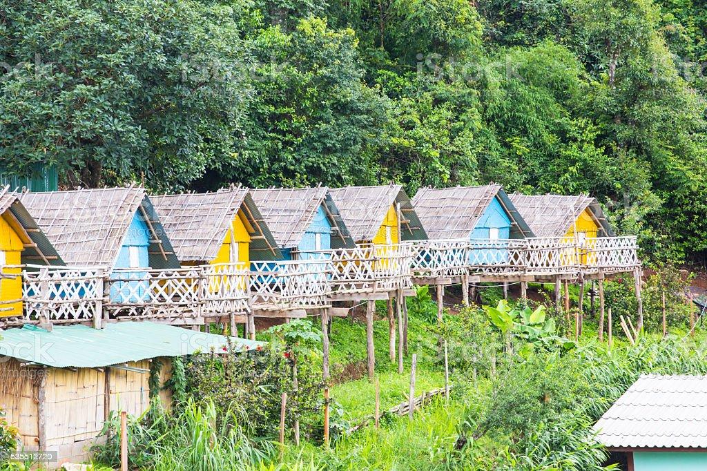 wooden hut beautiful colorful stock photo