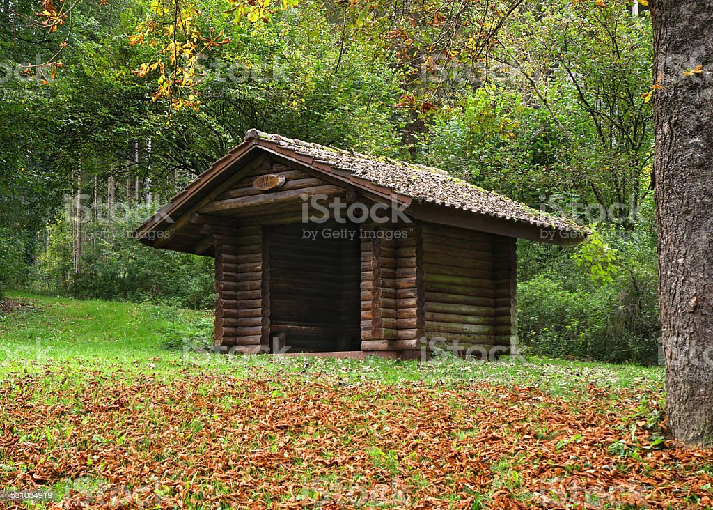 Wooden hut in the forest in the Glatter Taele, Germany royalty-free stock photo