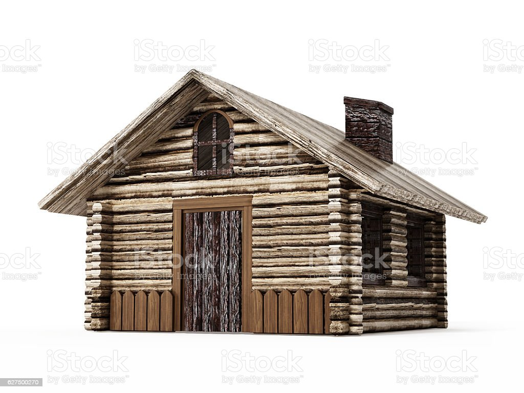 Wooden hut isolated on white stock photo