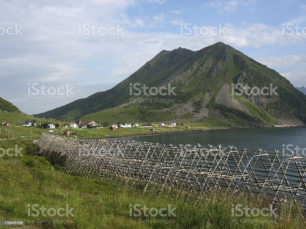 Wooden huts and fishing equipments  in the Vesteralen royalty-free stock photo