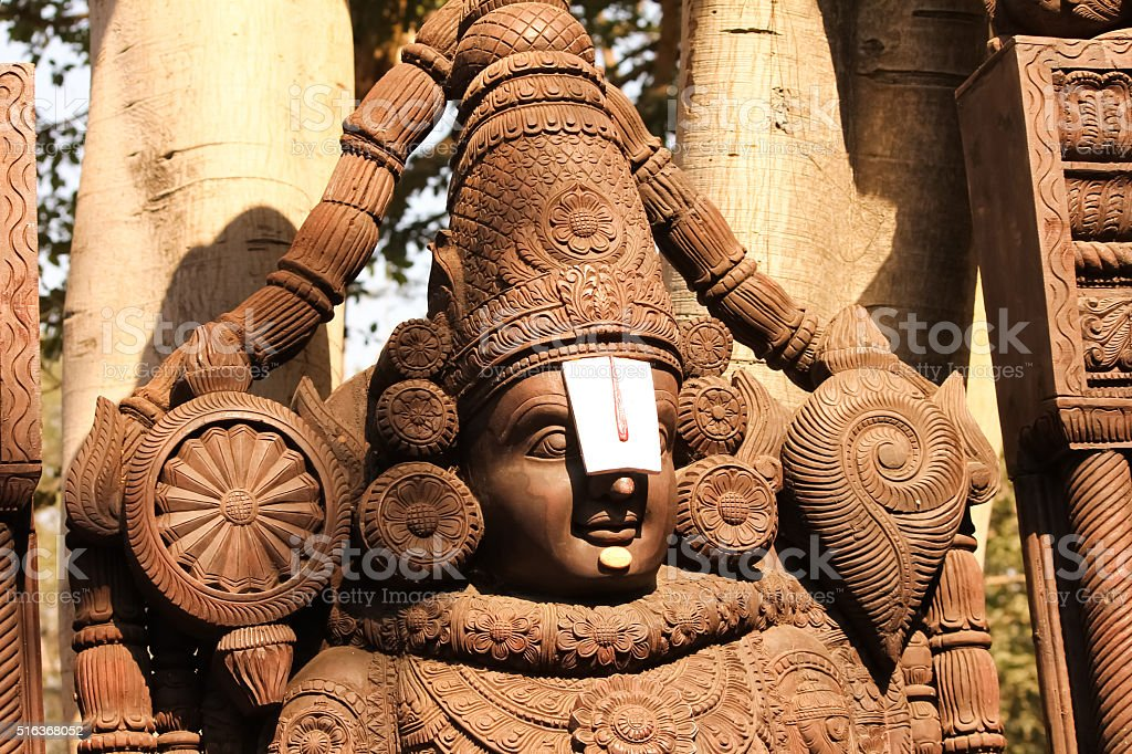Wooden Idol of Lord Venkateswara, Tirupati Balaji stock photo