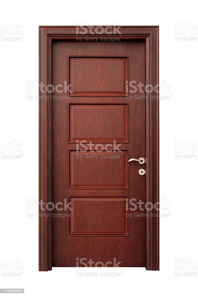 Wooden interior door with handle stock photo