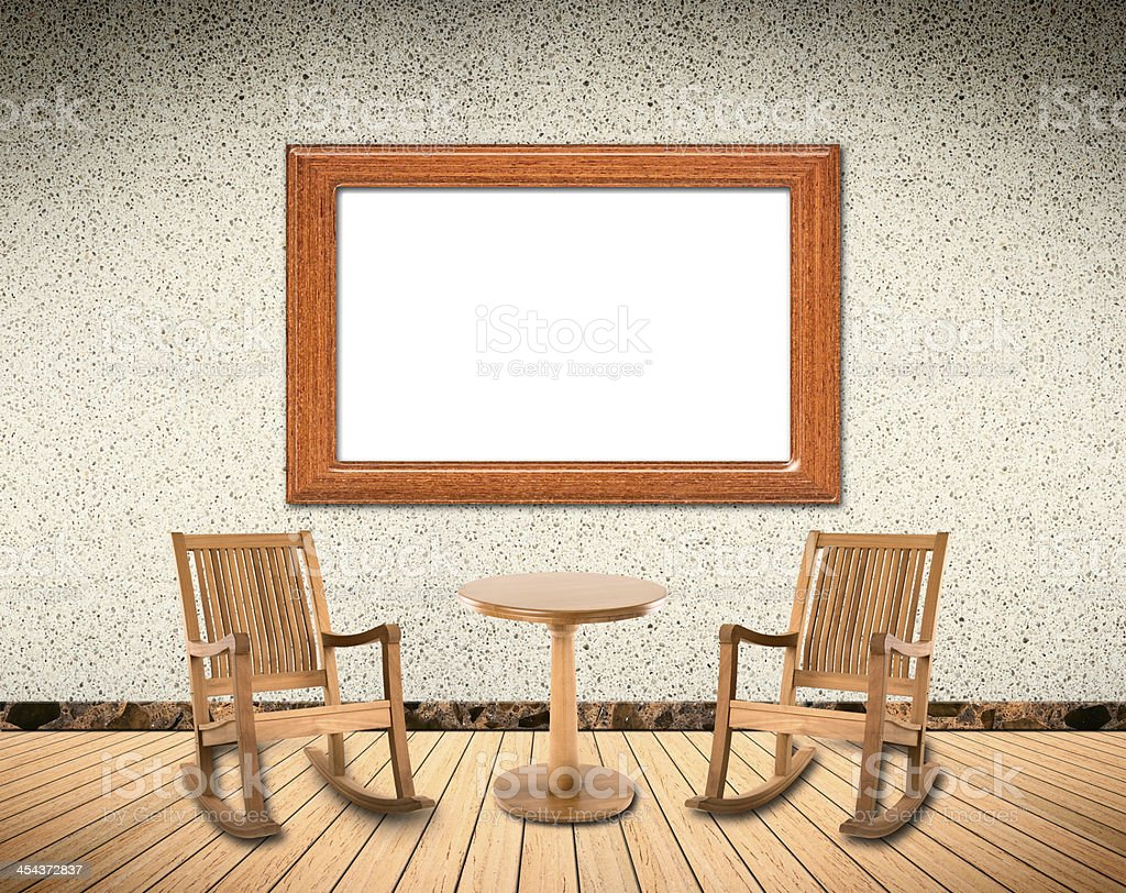 Wooden Interior with rocking chair royalty-free stock photo