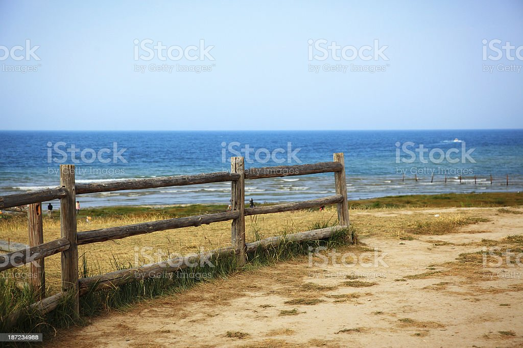 Wooden jetty in the dune royalty-free stock photo