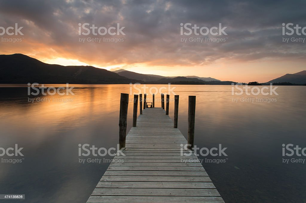 Wooden jetty on Derwent water - Lake district, England. stock photo