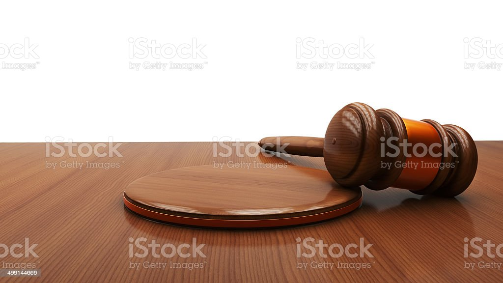 Wooden judge gavel and sound board isolated on white background. stock photo