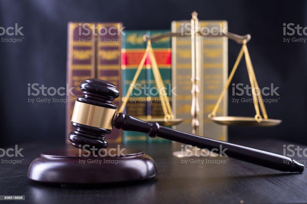Wooden Judges gavel ,golden scales justice stock photo