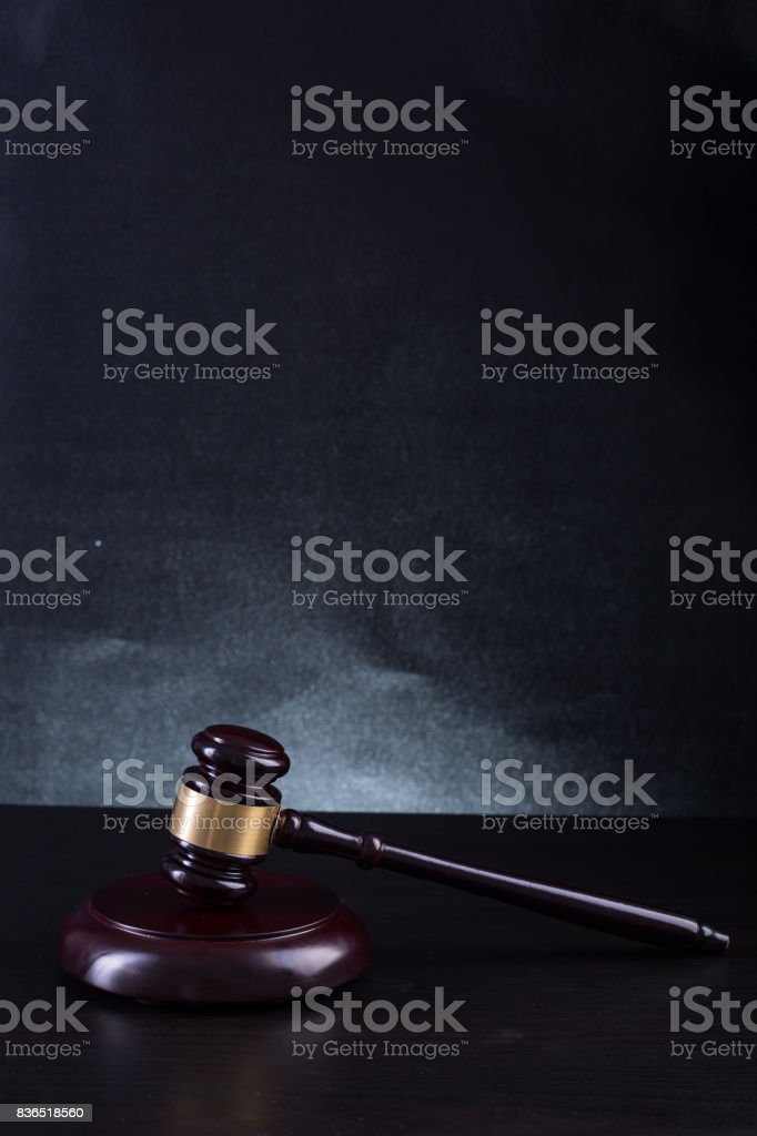 Wooden Judges gavel stock photo