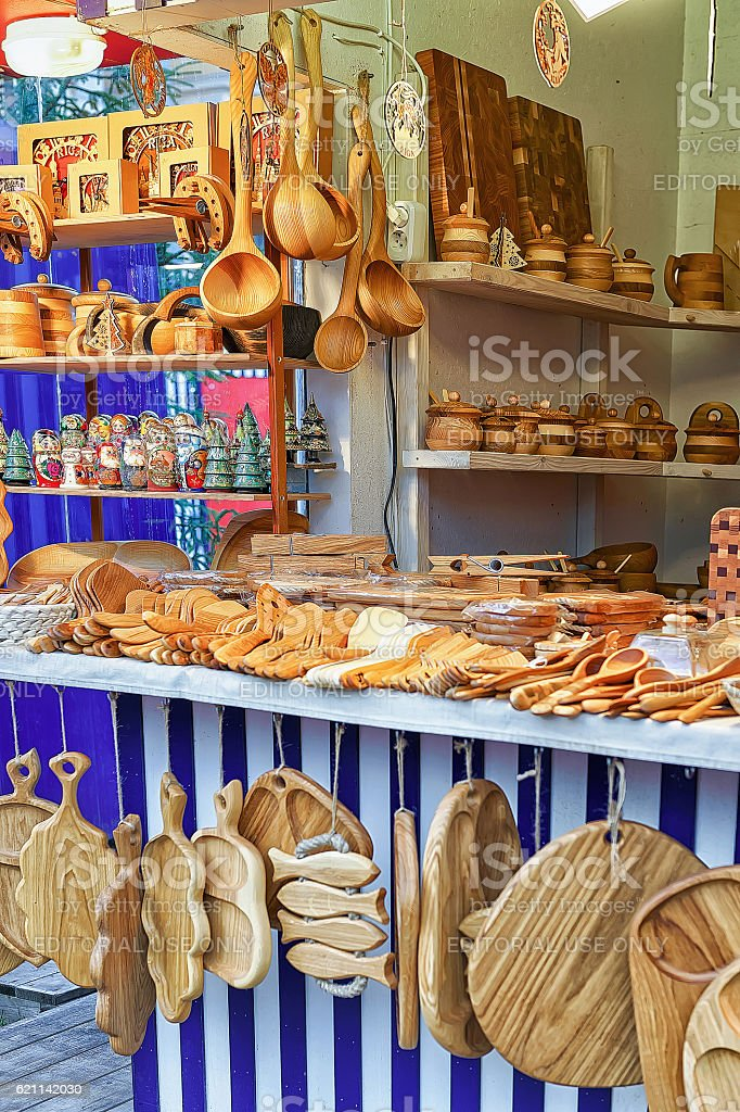 Wooden kitchen accessories on sale at Riga Christmas market stock photo