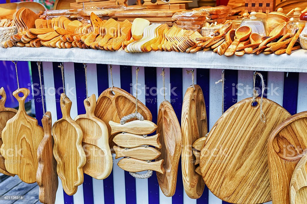 Wooden kitchen accessories on sale at the Riga Christmas market stock photo