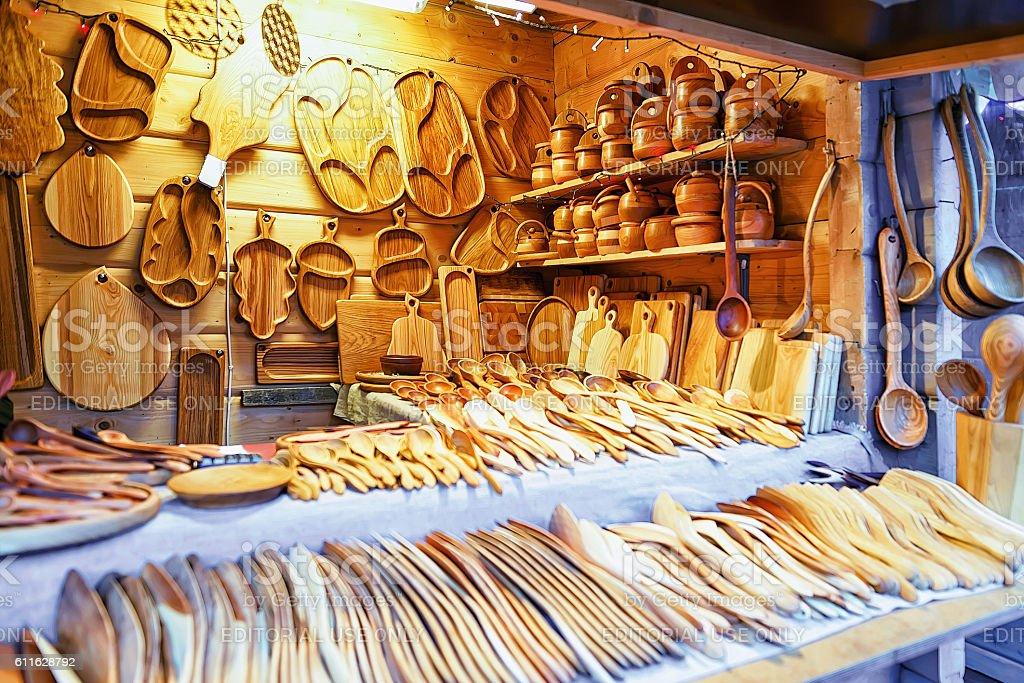 Wooden kitchen utensils at Riga Christmas Market stock photo