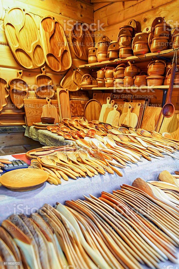 Wooden kitchen utensils at the Riga Christmas Market stock photo