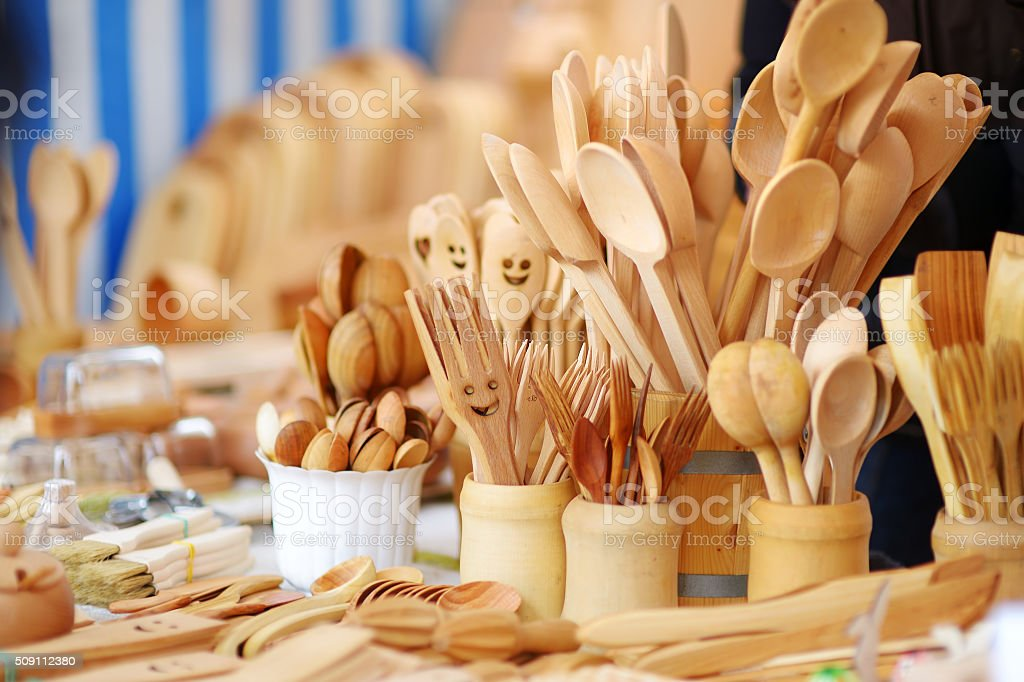 Wooden kitchenware and decorations sold on Easter market in Vilnius stock photo
