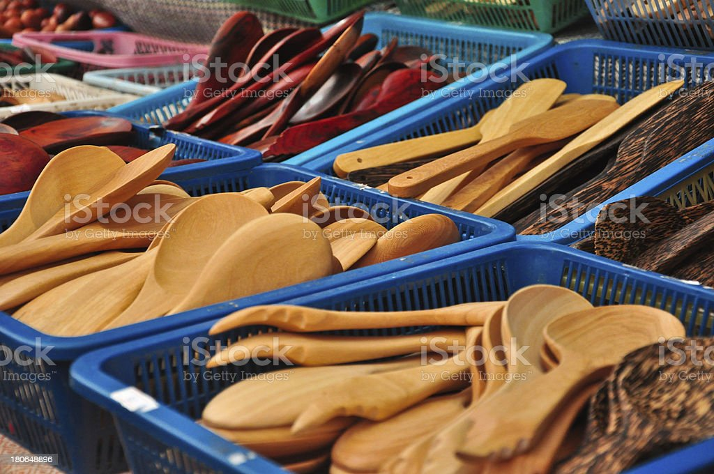 wooden kitchenware by hand make royalty-free stock photo