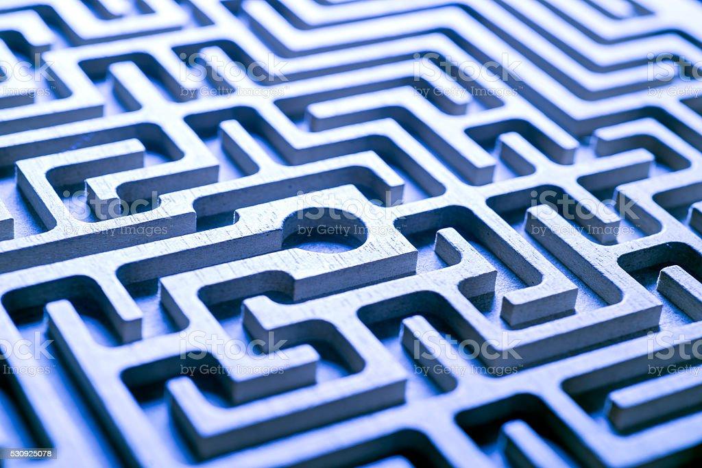 wooden labyrinth, blue light stock photo