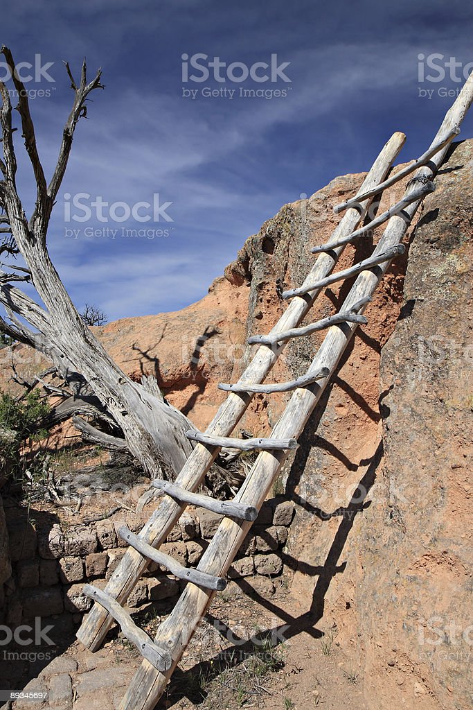 Wooden Ladder At Indian Cliff Dwellings - Tsankawi New Mexico stock photo