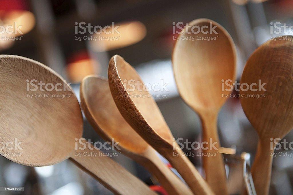 Wooden ladles stock photo
