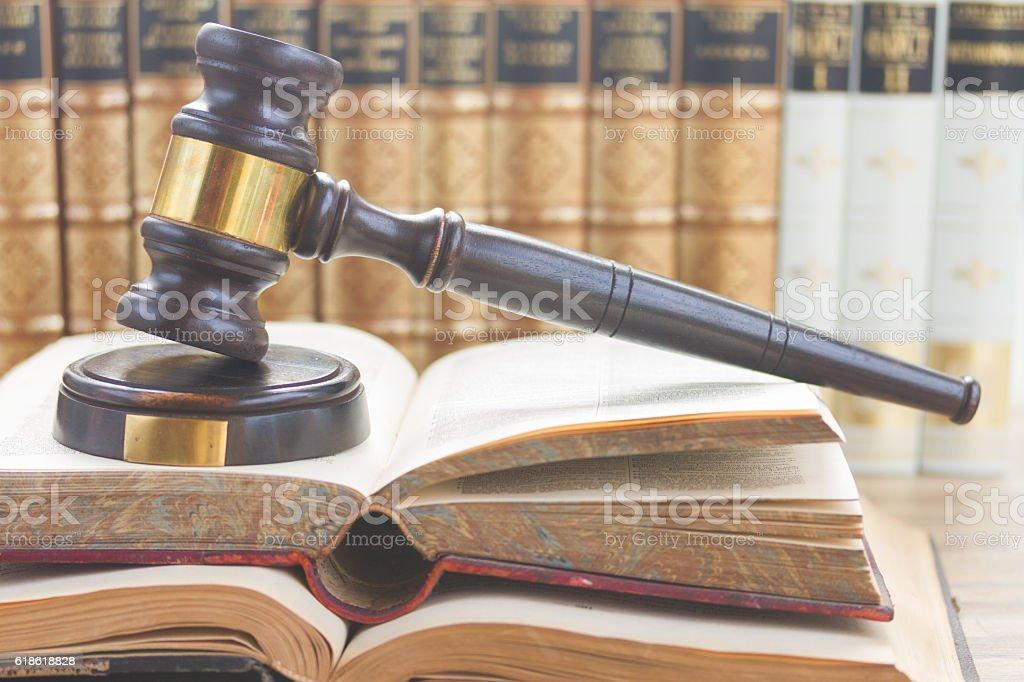 Wooden Law Gavel stock photo
