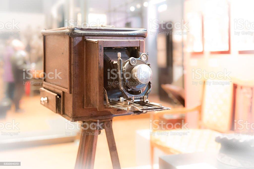 Wooden Οld fashioned camera stock photo