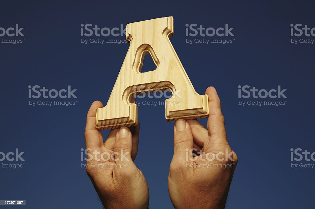 Wooden Letter A royalty-free stock photo