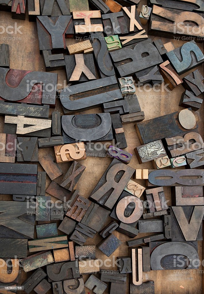 Wooden Letter Press Blocks royalty-free stock photo