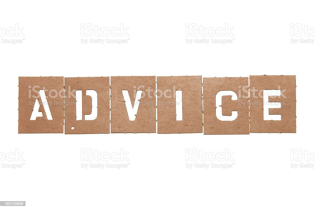 Wooden letter stencils that spell the word advice. stock photo
