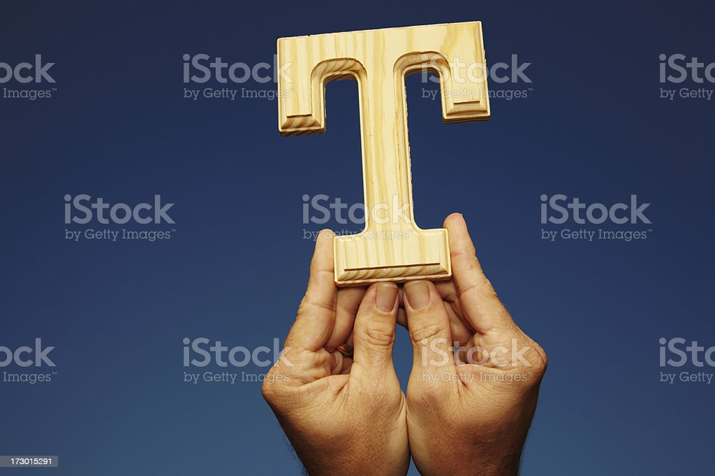 Wooden Letter T royalty-free stock photo