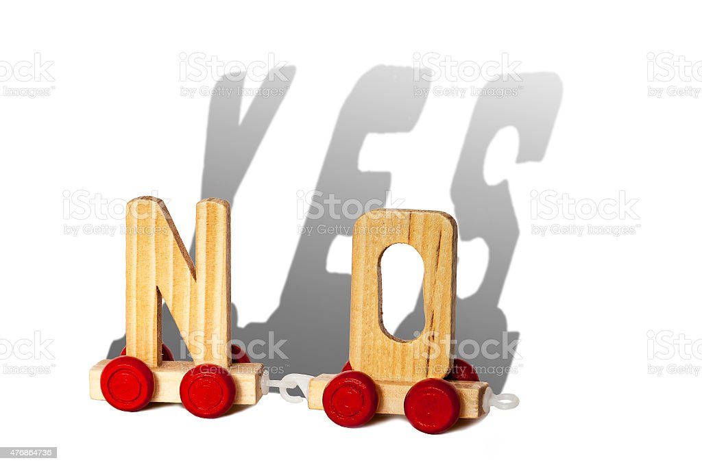 Wooden letters makes NO and the shadow makes YES stock photo