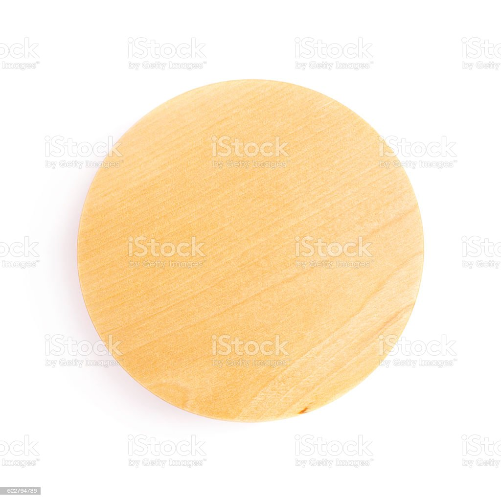 Wooden lid top cover isolated over white background stock photo