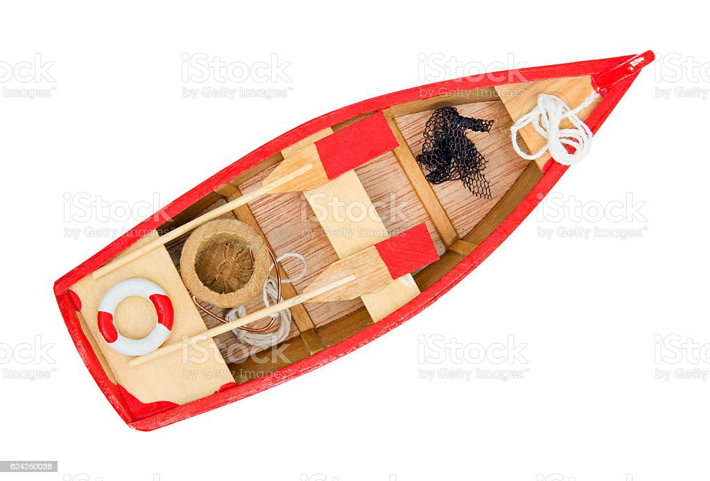 Wooden little boat stock photo