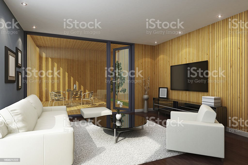 Wooden Living Room with Terrace royalty-free stock photo