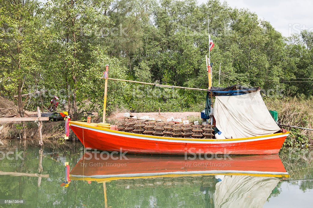 wooden local small fisherboat., Thailand. stock photo