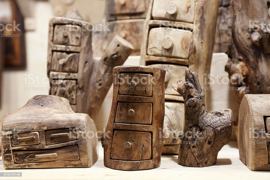 Wooden lockers stock photo