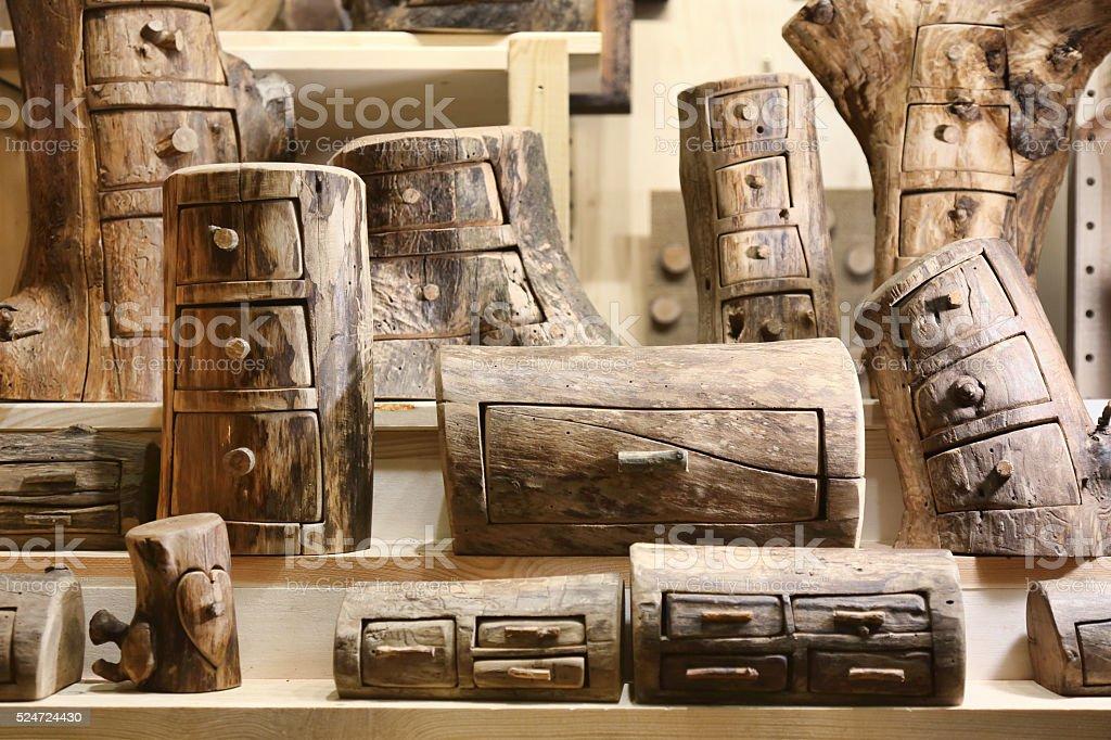 Wooden lockers stock photo