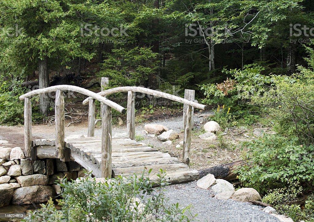 Wooden log bridge royalty-free stock photo