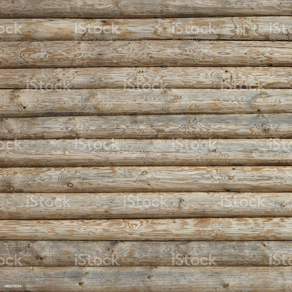 Wooden Log Cabin Old Wall Natural Colored Horizontal Background stock photo