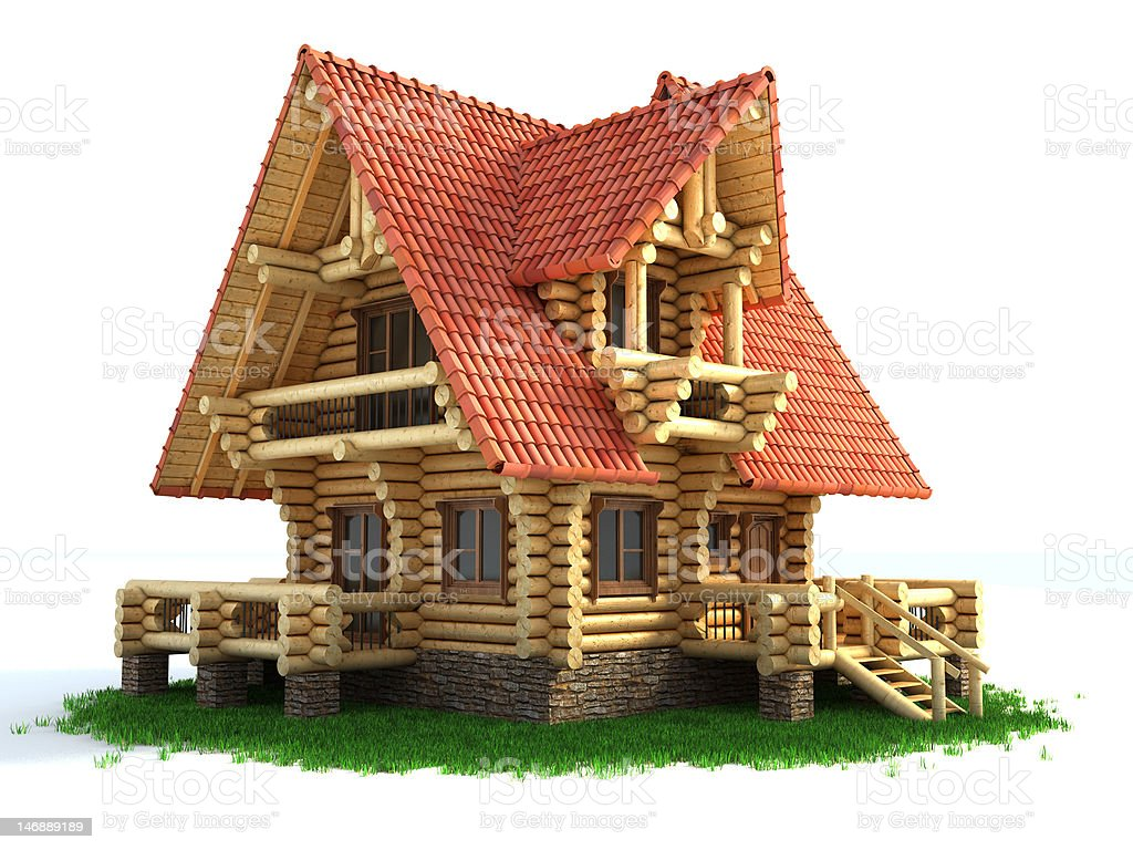 wooden log house royalty-free stock photo
