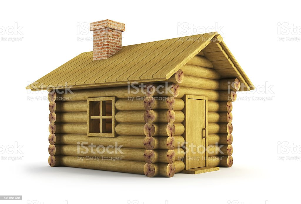 wooden log-house stock photo