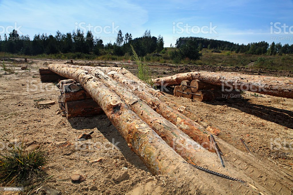 wooden logs like obstacle for test drive stock photo
