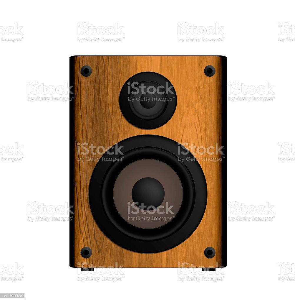 Wooden Loud Speaker Isolated on White stock photo