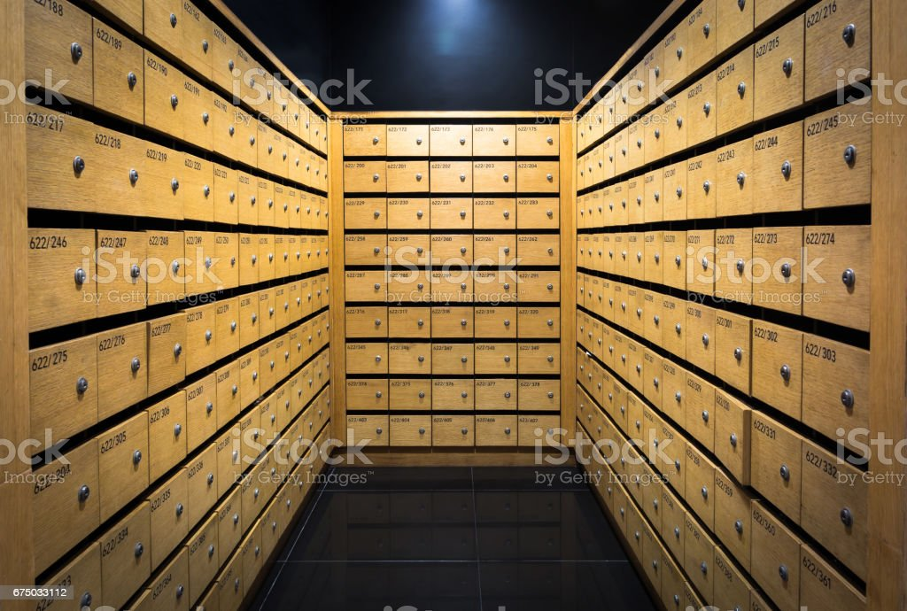 Wooden mail box in apartment stock photo